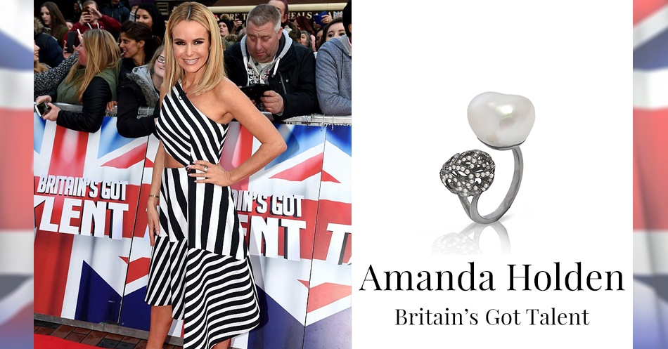 Amanda Holden wearing Fei Liu Whispering Baroque Pearl Ring for Britain's Got Talent