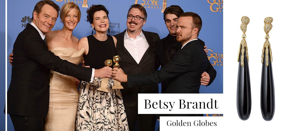 Betsy Brand wearing Fei Liu Onyx Drop Earrings at the Golden Globes