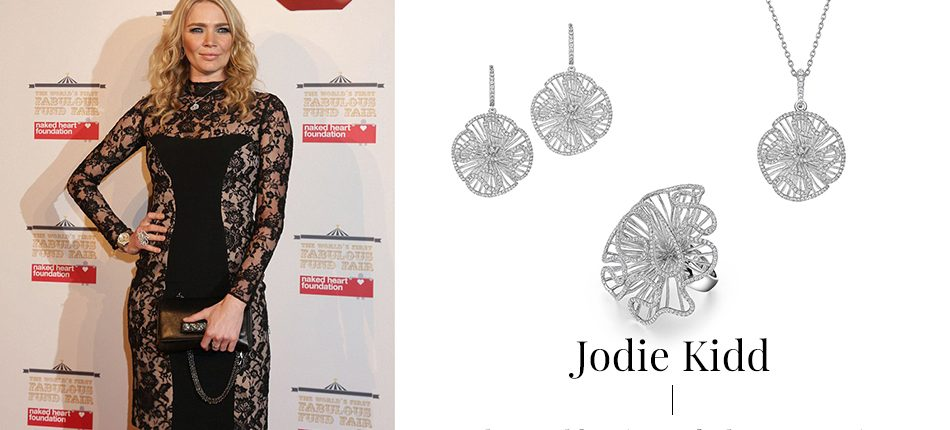 Jodie Kidd wearing Fei Liu Cascade collection.