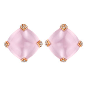 Rose quartz 18ct yellow gold stud earrings