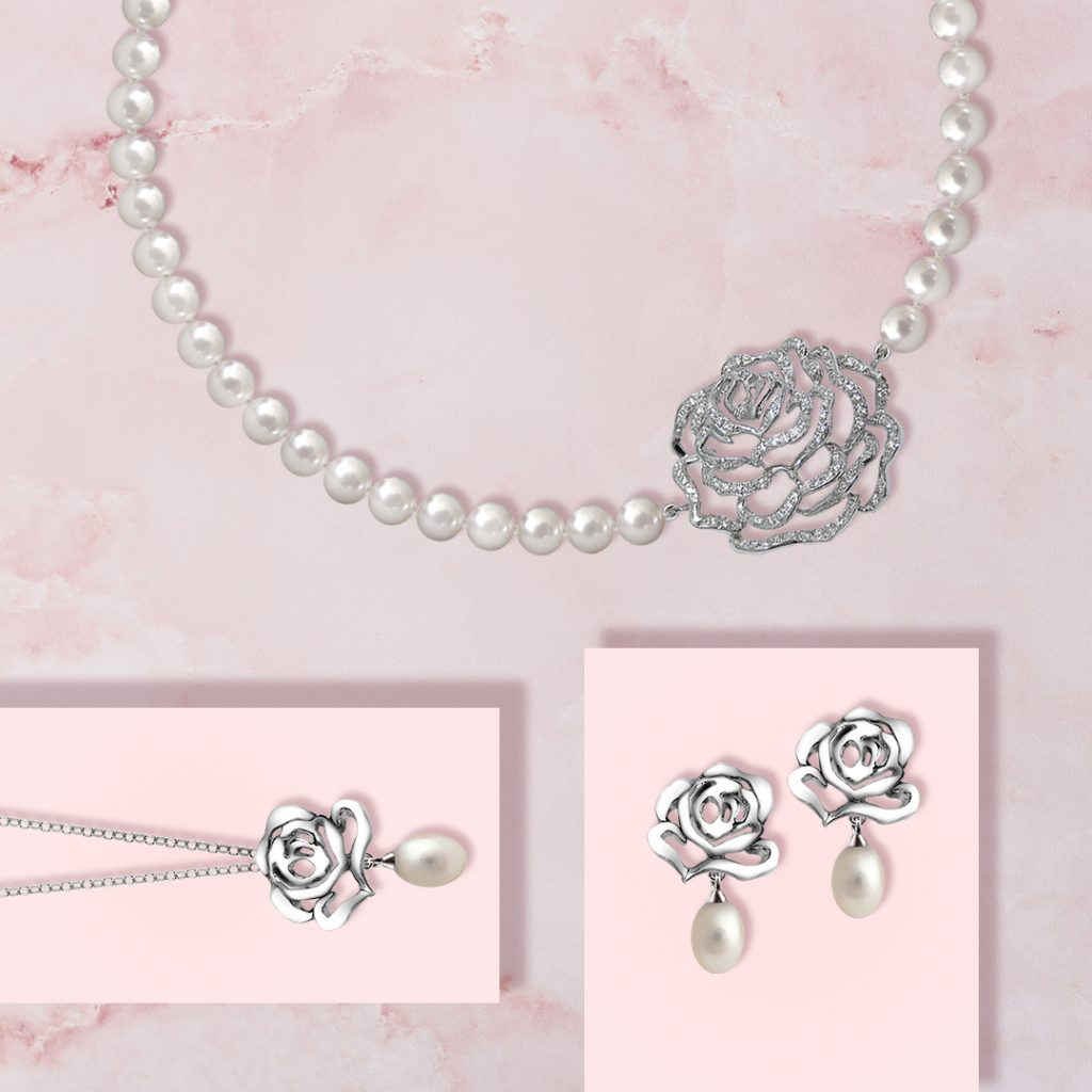 Rose pearl necklace with CZ, pearl drop earrings and pendant in white rhodium plate
