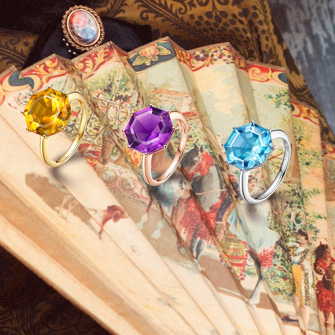 Victoriana large octagon cut rings with citrine, purple amethyst and blue topaz in 18ct gold.